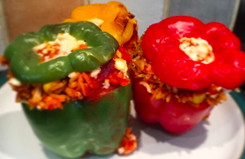 stuffed peppers prepped and packed, healthy lunch